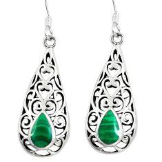 4.02gms green malachite (pilot's stone) 925 silver dangle earrings a88276