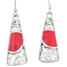 5.75cts red coral 925 sterling silver dangle earrings jewelry a88302