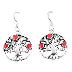 925 sterling silver 3.48gms red coral enamel tree of life earrings a88311