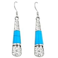 4.88cts fine blue turquoise 925 sterling silver earrings jewelry a88322