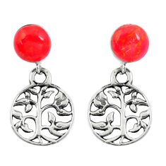 4.34cts red coral 925 sterling silver tree of life earrings jewelry a88334