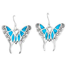 5.89gms fine green turquoise enamel 925 silver butterfly earrings a88446