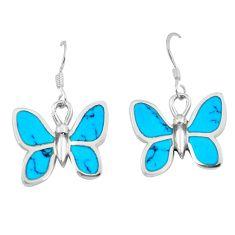 6.02gms fine blue turquoise enamel 925 sterling silver butterfly earrings a88456