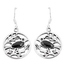 4.48gms black onyx enamel 925 sterling silver birds earrings jewelry a88628
