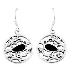 4.02gms black onyx enamel 925 sterling silver birds earrings jewelry a88633