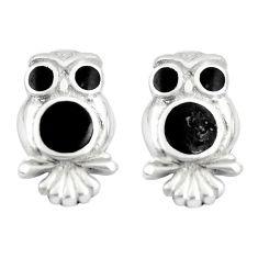 925 sterling silver 4.25gms black onyx enamel owl earrings jewelry a88639