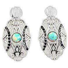 1.51cts pink australian opal (lab) onyx 925 sterling silver stud earrings a89113
