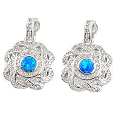 4.08cts blue australian opal (lab) white topaz 925 silver dangle earrings a89211