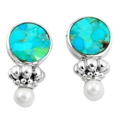 14.44cts natural green kingman turquoise pearl 925 silver dangle earrings a89721