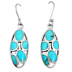9.67cts natural blue kingman turquoise 925 silver dangle earrings a89740
