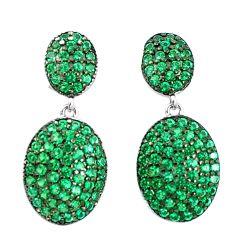925 sterling silver 3.42cts green emerald quartz dangle earrings jewelry a90220