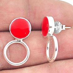 925 sterling silver 3.48gms red coral enamel dangle earrings jewelry a90737