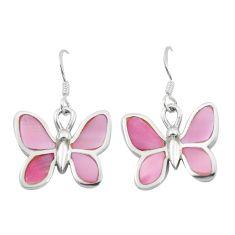 6.26gms pink pearl enamel 925 sterling silver butterfly earrings jewelry a91901