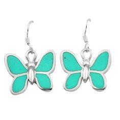 6.03gms fine green turquoise enamel 925 silver butterfly earrings a91902