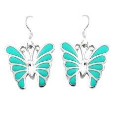 925 silver 6.69gms fine green turquoise enamel butterfly earrings jewelry a91932