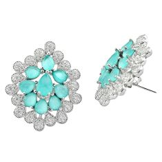 20.60cts aqua chalcedony white topaz 925 silver stud earrings jewelry a92147