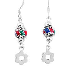 3.47gms multi color enamel 925 sterling silver dangle earrings jewelry a92948
