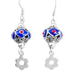 925 sterling silver 9.02gms multi color enamel dangle earrings jewelry a92959