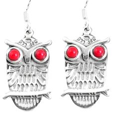 2.19cts red coral 925 sterling silver owl charm earrings jewelry a93213