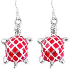 8.02gms red coral enamel 925 sterling silver tortoise earrings jewelry a93223
