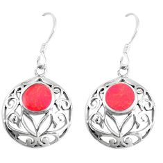 4.87gms red coral enamel 925 sterling silver dangle earrings jewelry a93226