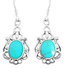 4.26gms fine green turquoise enamel 925 sterling silver dangle earrings a93240