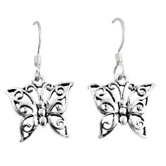 2.24gms indonesian bali style solid 925 silver butterfly earrings jewelry a93579