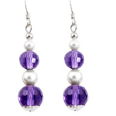14.67cts natural purple amethyst pearl 925 sterling silver earrings a94846