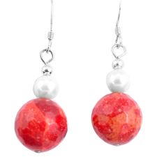 16.80cts natural red sponge coral pearl 925 sterling silver earrings a94847