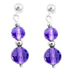 13.13cts natural purple amethyst 925 sterling silver dangle earrings a94851