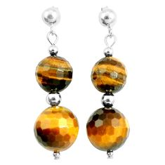 28.24cts natural brown tiger's eye 925 sterling silver dangle earrings a94853