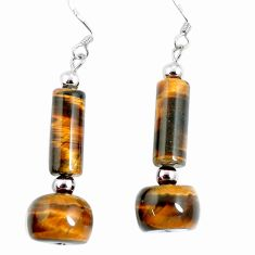 22.78cts natural brown tiger's eye 925 sterling silver dangle earrings a94866