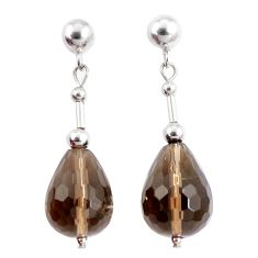 16.68cts brown smoky topaz 925 sterling silver dangle earrings jewelry a94867