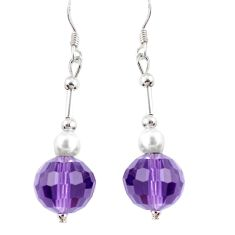 14.91cts natural purple amethyst pearl 925 silver dangle earrings a94869