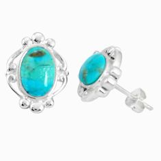 925 sterling silver 6.04cts natural green kingman turquoise stud earrings a95258