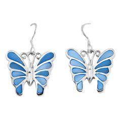 7.26gms blue pearl enamel 925 sterling silver butterfly earrings jewelry a95685