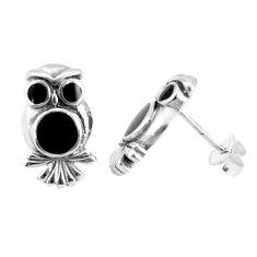 925 sterling silver 4.47gms black onyx owl charm earrings jewelry a95699