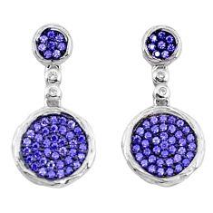 3.42cts purple amethyst quartz topaz 925 sterling silver dangle earrings a96527
