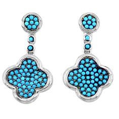 3.13cts fine blue turquoise 925 sterling silver dangle earrings jewelry a96533