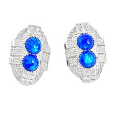 Art deco blue australian opal (lab) white topaz 925 silver stud earrings a96604