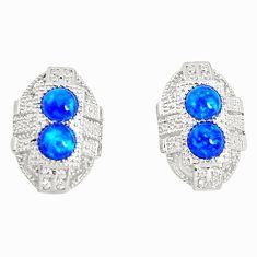 Art deco blue australian opal (lab) topaz 925 silver stud earrings a96609