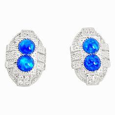 Art deco blue australian opal (lab) topaz 925 silver stud earrings a96610