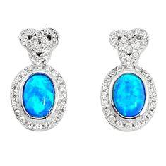 3.95cts blue australian opal (lab) white topaz 925 silver stud earrings a96622