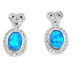 925 silver 3.92cts blue australian opal (lab) white topaz stud earrings a96624