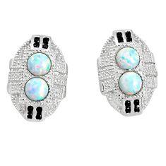 925 silver 2.72cts pink australian opal (lab) topaz stud earrings jewelry a96628