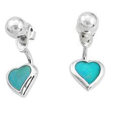 4.02gms fine green turquoise enamel 925 sterling silver heart earrings a96801