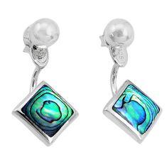 4.89gms green abalone paua seashell 925 silver dangle earrings jewelry a96826