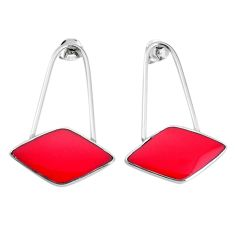 5.02gms red coral enamel 925 sterling silver dangle earrings jewelry a96836