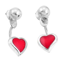 4.02gms red coral enamel 925 sterling silver heart love earrings jewelry a96837