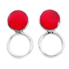 925 sterling silver 3.26gms red coral enamel stud earrings jewelry a96839